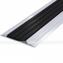 Лента тактильная направляющая, антивандальная, в AL профиле ВхШхГ 46х4,5, материал вставки - ПВХ, шириной 29мм черного цвета