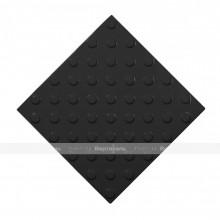 Плитка тактильная (непреодолимое препятствие, конусы шахматные) 300х300х4, ПУ, черный