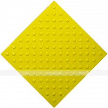 Плитка тактильная (непреодолимое препятствие, конусы шахматные) 500х500х4, ПУ, желтый