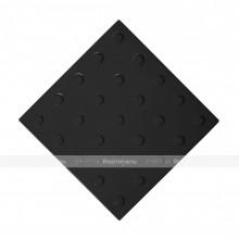 Плитка тактильная (преодолимое препятствие, поле внимания, конусы линейные) 300х300х4, ПУ, черный