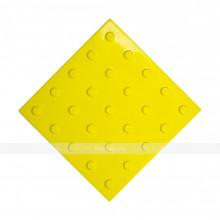 Плитка тактильная (преодолимое препятствие, поле внимания, конусы линейные) 300х300х4, ПУ, желтый