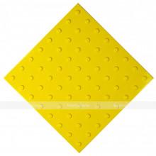 Плитка тактильная (преодолимое препятствие, поле внимания, конусы линейные) 500х500х4, ПУ, желтый