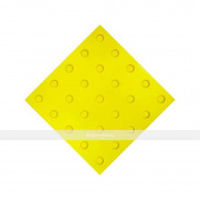 Плитка тактильная (преодолимое препятствие, поле внимания, конусы линейные) 300х300х4, ПУ, желтый, самоклей
