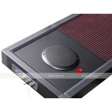 Визуально-акустическое табло с разрешением 32х288, подключена акустическая система 2х10 Вт ПДУ, датчик температуры. 3600 x 400мм