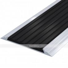 Лента тактильная направляющая, антивандальная, в AL профиле ВхШхГ 60х4,5, материал вставки - ПВХ, шириной 50мм черного цвета
