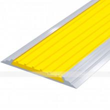 Лента тактильная направляющая, антивандальная, в AL профиле ВхШхГ 60х4,5, материал вставки - ПВХ, шириной 50мм желтого цвета