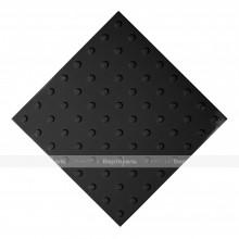 Плитка тактильная (преодолимое препятствие, поле внимания, конусы линейные) 500x500x4, ПУ, черный, самоклей