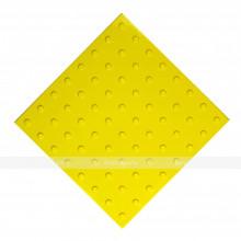 Плитка тактильная (преодолимое препятствие, поле внимания, конусы линейные) 500x500x4, ПУ, желтый, самоклей