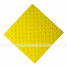 Плитка тактильная (непреодолимое препятствие, конусы шахматные) 500x500x4, ПУ, желтый, самоклей