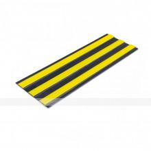 Лента тактильная направляющая, ВхШ 4х180, материал-ПУ, 3 желтые полосы на черной основе, самоклеящаяся